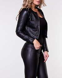 Mimose Cropped Leather Jacket Black