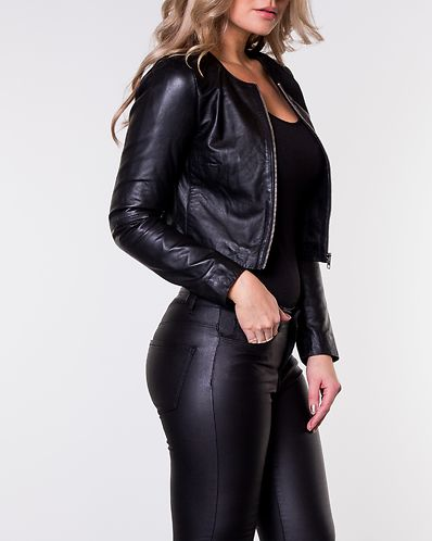 Mimose Cropped Leather Jacket Black 64192a37a9703