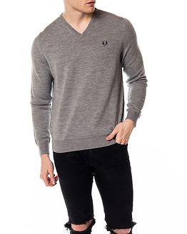 Classic Tipped V-Neck Sweater Steel Marl
