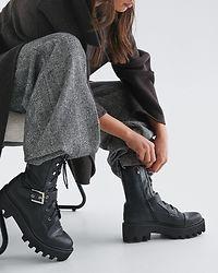 Buckled Combat Boots Black
