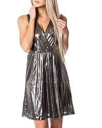 Silvia Wrap Dress Black/Silver/With Shine