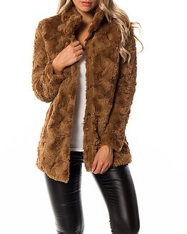 Curl High Neck Faux Fur Jacket Tobacco Brown