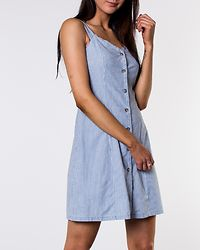 Samantha Chamb Short Button Dress Light Blue Denim/White
