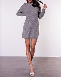 Siesta O-Neck Knit Dress Medium Grey Melange