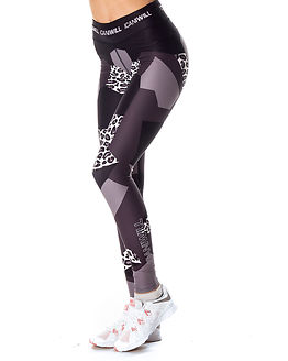 Leopard Tights Black Grey