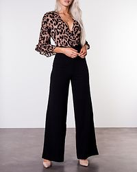2in1 Leopard Print Frill Sleeve Jumpsuit Leo/Black
