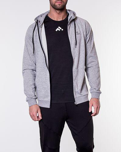 Travis Sweat Zip Hood Light Grey Melange Black 2d63860c14