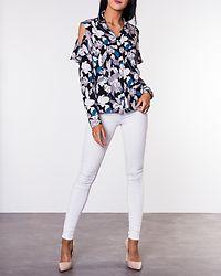 Cora Cutout Shirt Black/Flowers