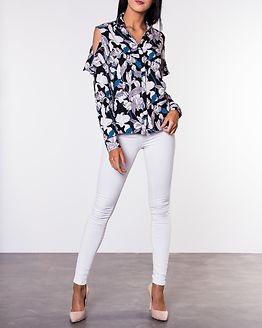 Cora Cutout Shirt Black/Flowers