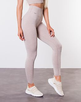 Beige Ribbed Seamless Tights
