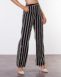 Martiri Buttoned Wide Pants Black/Striped