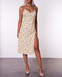Tie Shoulders Slit Detail Dress Yellow
