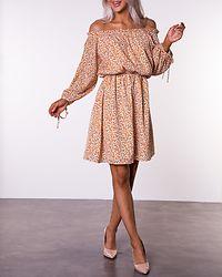 White Orange Floral Offshoulder Dress
