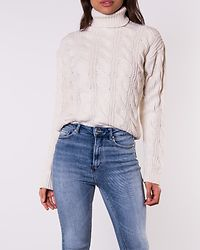 Polo Neck Cable Knitted Sweater Off White