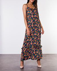Kenya Maxi Strap Dress Black/Multicolor