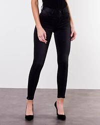 Lexi High Waist Skinny Ankle Zip Jeans Black