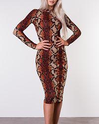 Rust Snake Print Midi Dress