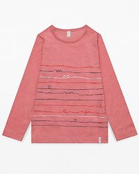 Shirt Stripe Heart Heather Coral