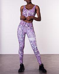 Concrete Bloom Zip Bra Purple