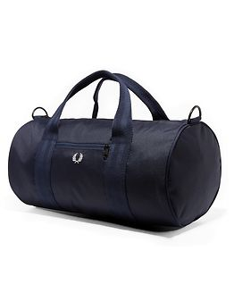 Checked Twill Barrel Bag Navy