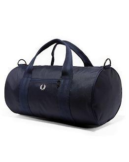 Checked Twill Barrel Bag Navy