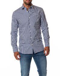Slim Pen Gingham Shirt Dark Blue