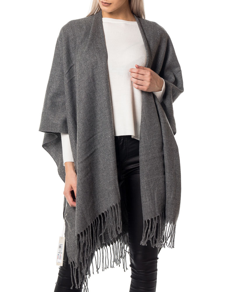 Pieces, Raelyn Cape Scarf Dark Grey Melange