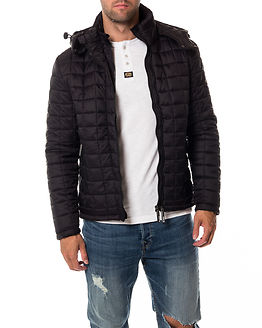 Box Quilted Fuji Hooded Black