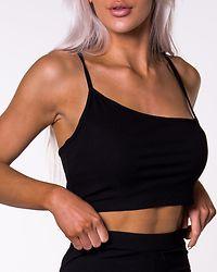 Ribbed Asymmetric Top Black