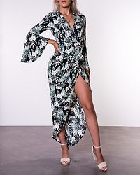 Indie Floral Wrap Flute Sleeve Maxi Dress Green/Black
