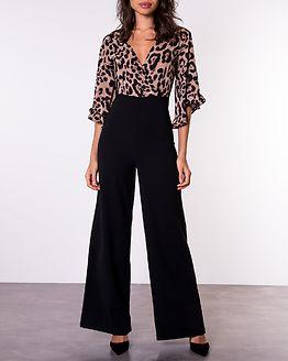 2in1 Leopard Print Frill Sleeve Jumpsuit Leo/Black