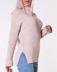 Ribbed Knitted Turtleneck Side Slit Light Beige