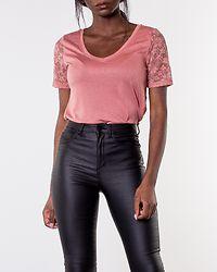 Kim Treats V-Neck Lace Top Old Rose