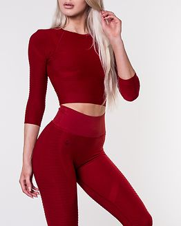 Regalia Flow Crop 3/4 Sleeve Mars Red