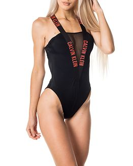 Mesh One Piece Black/Hot Coral