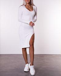 V-Neck Ribbed Slit Dress Off White