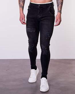 Distressed Skinny Denim Black