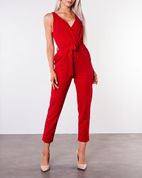 Bella V-Neck Wrap Straight Leg Jumpsuit Red