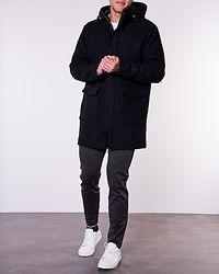 Wool Parka Jacket Dark Grey/Black