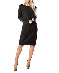Miles O-Neck Dress Dark Grey Melange