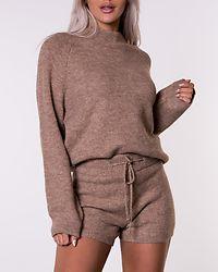 High Waist Knitted Shorts Beige