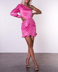 Hot Pink One Shoulder Satin Dress