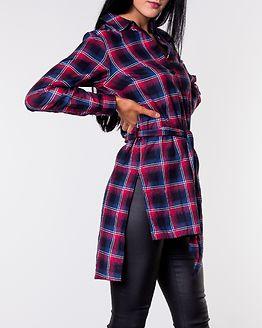 Zara Long Collar Shirt Blue/Red/Checked