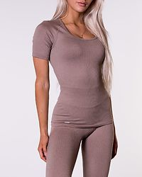 Espresso Ribbed Seamless T-Shirt Brown