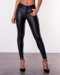Royal High Waist Button Coated Jeans Black