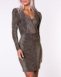 Didi V-Neck Short Dress Black/Gold Lurex
