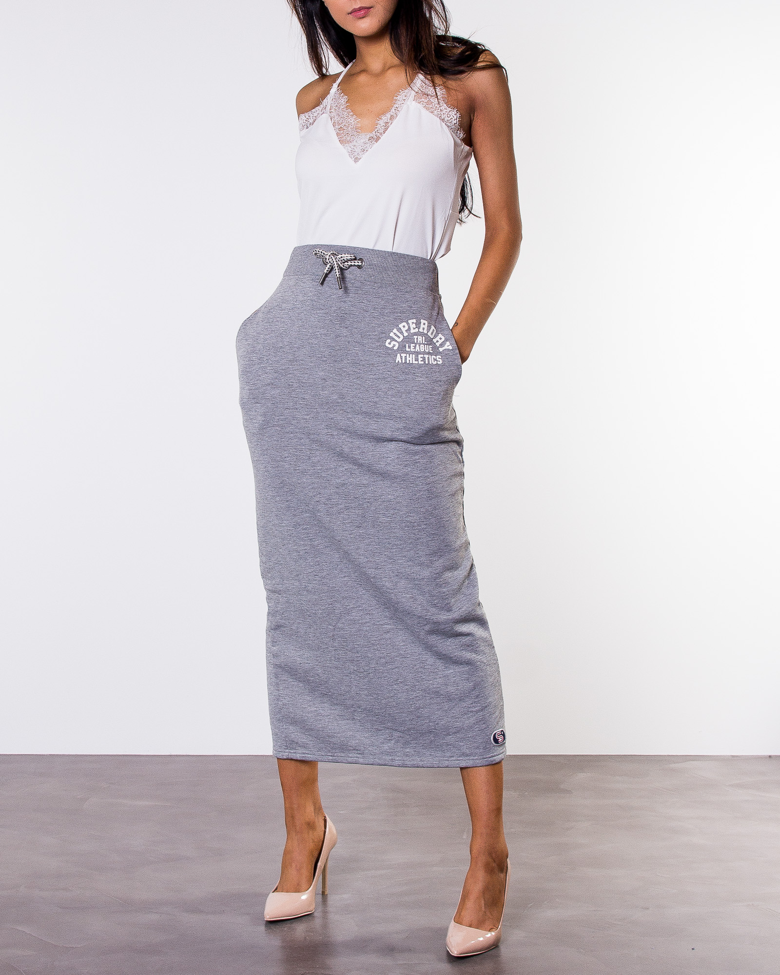 b0c827696fa1 Superdry, Tri League Maxi Skirt Skyscraper Grey Marl | Skirts ...