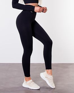 Black Ribbed Seamless Tights