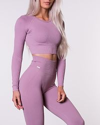 Sunset Haze Ribbed Seamless Crop Long Sleeve Pink
