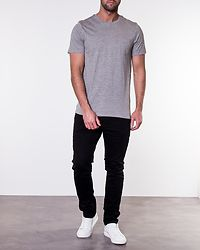 Pocket Slim Tee O-Neck Light Grey Melange